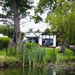 Cubed house at lake